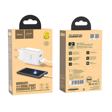 HOCO - C62A VICTORIA TRAVEL CHARGER DUAL USB 2,1A, WHITE SET microUSB CABLE