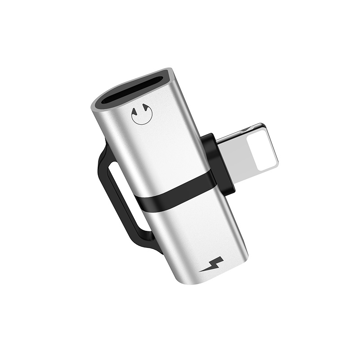 HOCO - LS20 ADAPTER LIGHTNING TO DUAL LIGHTNING AUDIO AND CHARGE, SILVER