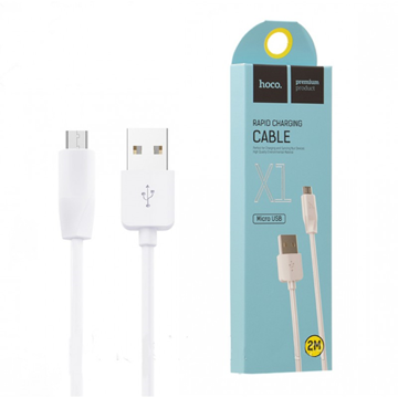 HOCO - X1 RAPID DATA CABLE microUSB 1m WHITE (2PCS)