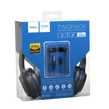 HOCO - W24 WIRED HEADPHONES SET WITH HANDSFREE BLUE