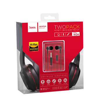 HOCO - W24 ENLIGHTEN WIRED HEADPHONES SET WITH HANDSFREE RED