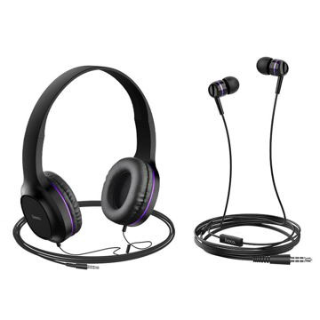 HOCO - W24 WIRED HEADPHONES SET WITH HANDSFREE PURPLE