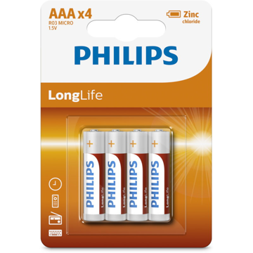 PHILIPS LR03 AAA, LONGLIFE ΜΠΑΤΑΡΙΑ  Blister 4 τεμ