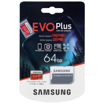 ΚΑΡΤΑ Samsung Evo Plus microSDXC 64GB U3 with Adapter