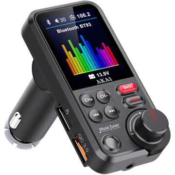 Akai FMT-93BT FM transmitter με Hands Free, QC, Bluetooth, Aux-In / Out, micro SD