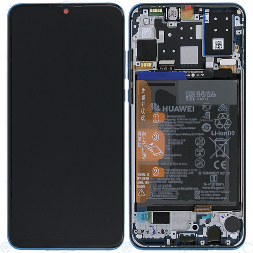 HUAWEI P30 Lite - LCD + Touch + Frame + Battery Blue Original Service Pack