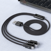 DEVIA Gracious Series 3 in 1  charging cable (micro, type-c lightning ) Black (5V 3A 1.2M)