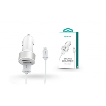 DEVIA Smart Series Dual USB Car Charger Suit with Micro USB Cable White  (2.4A,2USB)