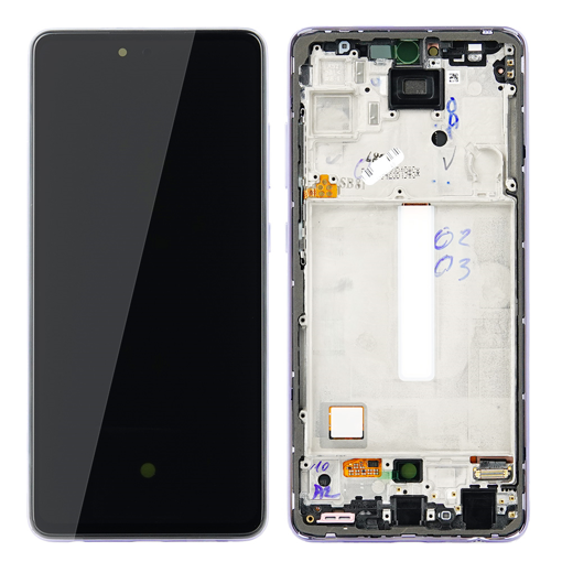 SAMSUNG A525F Galaxy A52 / A52 5G - LCD - Complete front + Touch + Battery Purple Original Service Pack