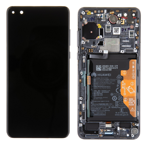 HUAWEI P40 - LCD + Touch + Frame + Battery Black Original Service Pack