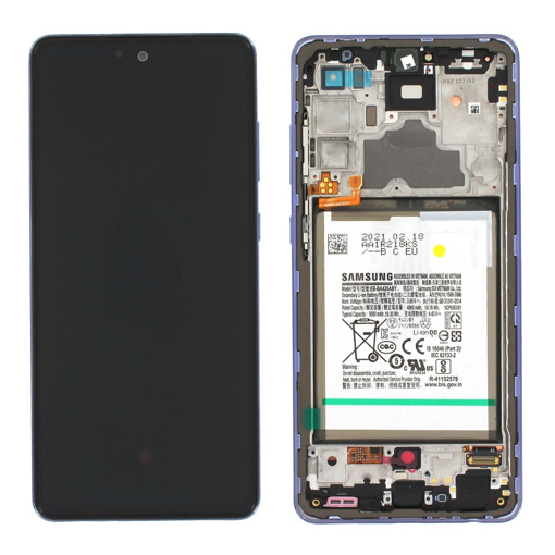 SAMSUNG A725F Galaxy A72 - LCD - Complete front + Touch + Battery Violet Original Service Pack